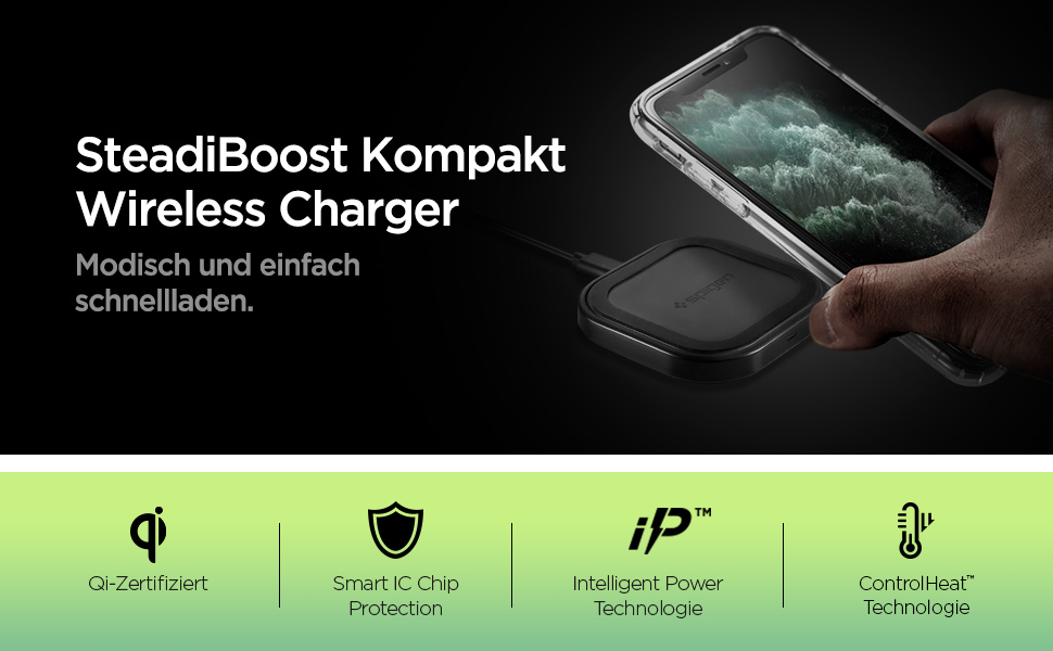 Spigen Steadiboost Wireless Charger 10 W Induction Charger With Usb C Cable Qi Charging Station Compatible With Iphone 12 Mini Se 11 Pro X Xr Xs Max 8 Plus Galaxy S20 S10 S9