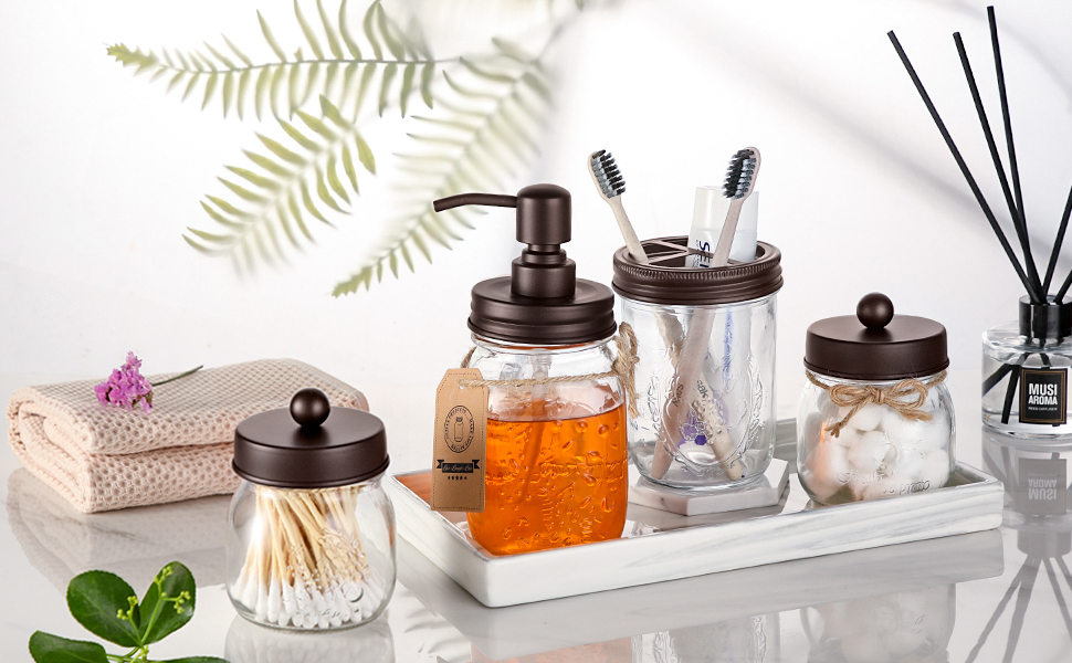 AOZITA Mason Jar Bathroom Accessories Set 4 Pcs – Mason Jar Soap Dispenser & 2 Apothecary Jars & Toothbrush Holder – Rustic Farmhouse Decor, Bathroom Home Decor, Countertop Vanity Organize – Bronze ca259d6d 854c 4172 a0be a1e5696c3fa7