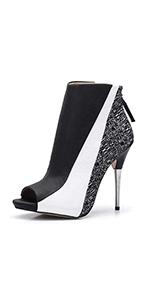 Women's Open Toe Stiletto Bootie Zipper High Heels Heeled Ankle Boots