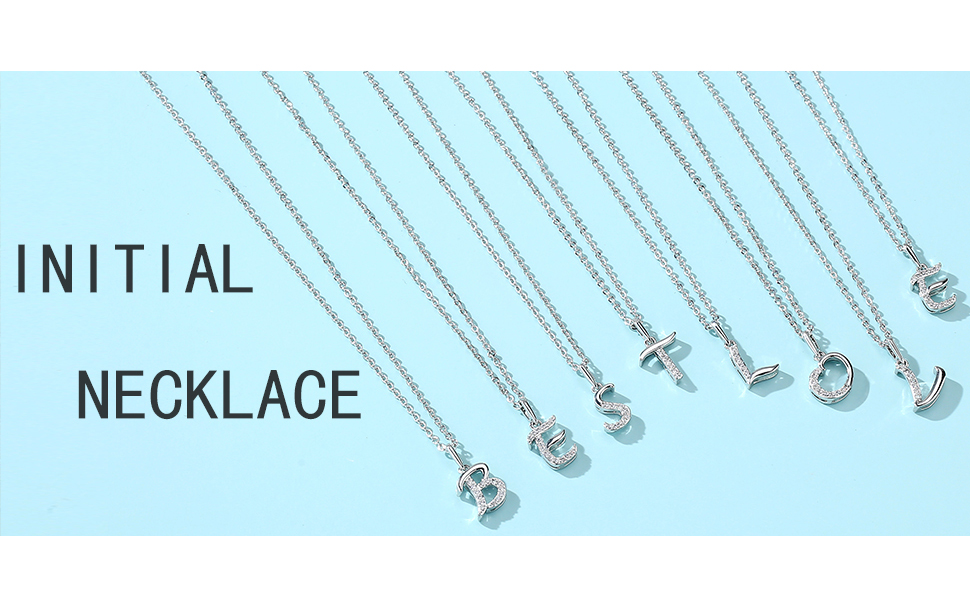 white gold initial necklace
