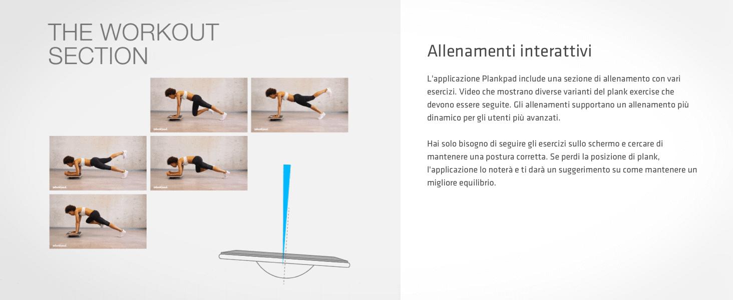 L'app include una sessione di allenamento con vari video che mostrano esercizi di plancia