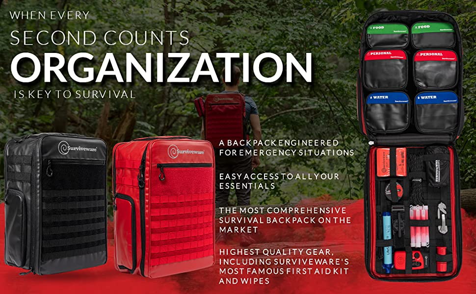 72 Hour Survival Backpack, survival backpack for disaster preparedness,go bags survival kit 4 person