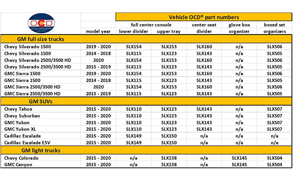 Vehicle OCD GM center console organizers