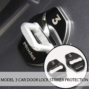 4 Pcs CoolKo Stainless Steel Design Car Door Lock Striker Protection Compatible with Tesla Model 3