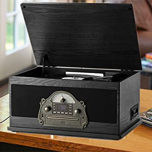Rcm Nostalgic Wooden 7-in-1 Wireless Vinyl Record Player Music System with Built-in Stereo Speakers, 3-Speed Turntable, FM Radio, CD/Cassette Player, ...