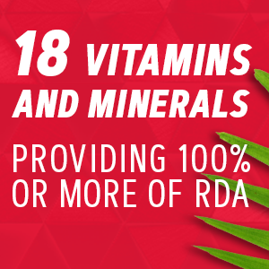 18 vitamins and minerals providing 100% or more of RDA