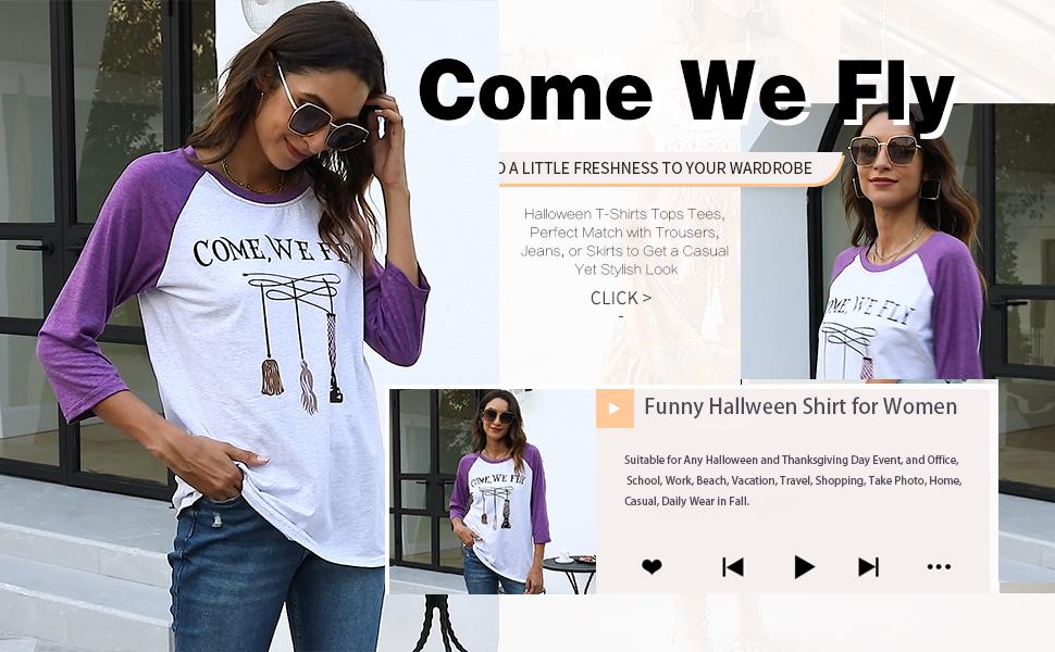 halloween fly baseball tee shirts splicing long sleeve fall loose tee Halloween tees letter shirts