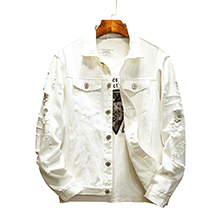 Distressed Jacket Casual Button Down Trucker Ripped denim Jacket Men Jean Coat White Big & Tall