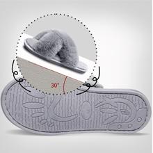 Womens Furry House Slippers Open Toe Fluffy Bedroom Slippers Cozy Memory Foam Plush Cross Slippers