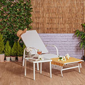 Harbour Housewares Adjustable Garden Sun Lounger with Matching Metal Side Table White