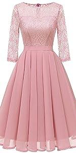 sheer long sleeves lace chiffon dress