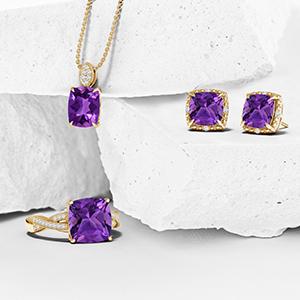 Deep Purple Amethyst trillion jewelry Amethyst pendant Amethyst Pendant gold amethyst 13mm Amethyst trillion gem Amethyst jewelry