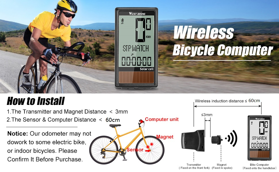 Cycle Speed Track Distance for MTB Road Bikes Cycling Computer Solar Powered 5 Language LCD-Display Wireless Waterproof Bicycle Odometer Speedometer with Automatic Wake-up Backlight 23 Function