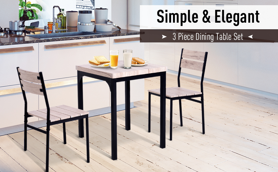 Homcom Rustic Country Wood Top 3 Piece Kitchen Table Dining Set With 2 Matching Chairs Versatile Design Table Chair Sets