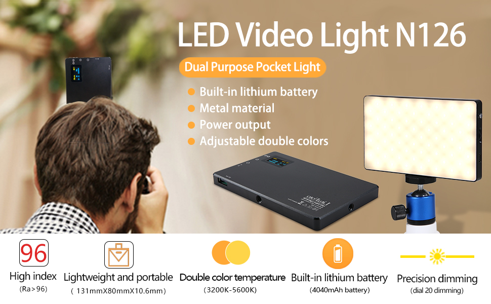LED Video Light LituFoto F12 Mini Camera Lighting Built-in Rechargeable Battery LED On Camera Light for Photography Camcorder Shooting with Dimmable 3200-5600K Bi-Color