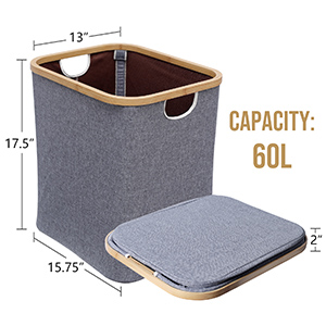 WELLAND Laundry Basket with Handles, Foldable Linen Laundry Hamper