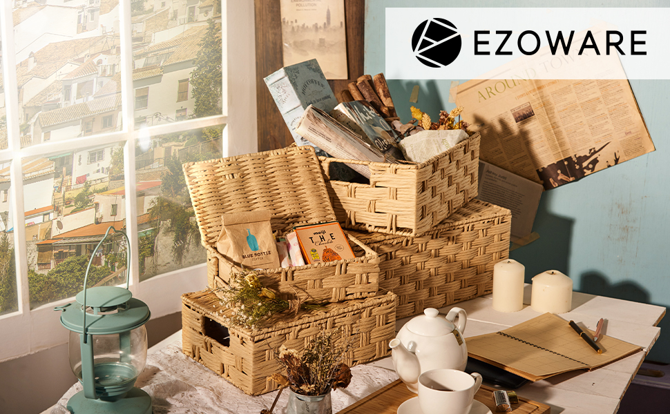 ezoware woven paper rope baskets
