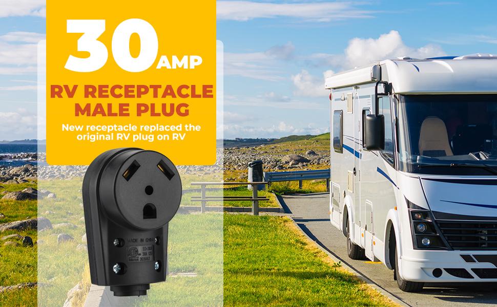 BougeRV 30 AMP RV Receptacle Plug