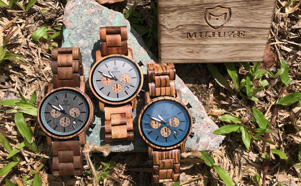 Orologio da uomo in legno per 3 colori.