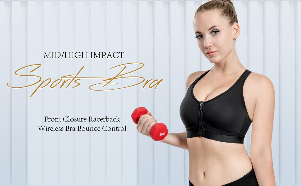 sports bra front zipper closure high impact racerback wireless bounce control