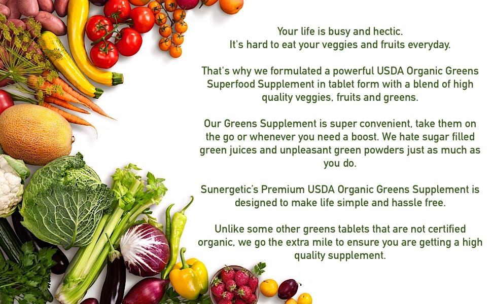 Premium USDA Certified Greens Tablets, Sunergetic Supplements , Immune Booster , over 25 veggies