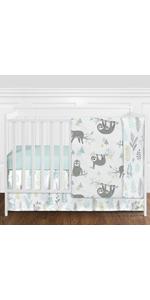 Blue and Grey Jungle Sloth Leaf Baby Unisex Boy or Girl Nursery Crib Bedding Set without Bumper