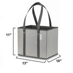 reusable shopping tote bag box style with reinforced sides and bottom