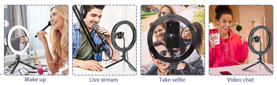 """BlitzWolf 10.2"""" Dimmable Desk LED Ring Light for YouTube Video Live Stream Makeup Photography"""