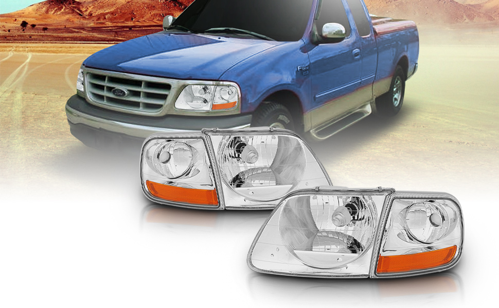 Chrome, Headlight, Lamp, Ford, F-150, F150, 1997, 1998, 2000, 2003, Lightning Style, Expedition