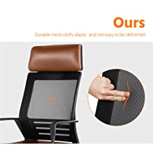 9  YAHEETECH Ergonomic Mesh Office Chair with Leather Seat, High Back Task Chair with Headrest, Rolling Caster for Meeting Room, Home Brown ca8c33f7 6bdd 474d 8e17 c60ed6237285