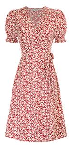 Floral Printed Ruffle Sleeve Wrap Dress