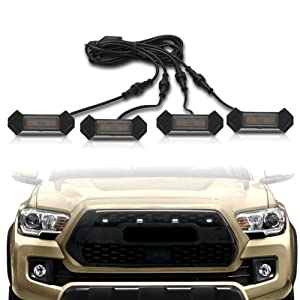 KRSCT Grille Light Fit for 2020 2016-2020 Toyota Tacoma Pro 9 LED Yellow Arrow Housing Yellow Light