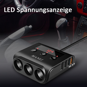 Die LED Anzeige des Car Adapters