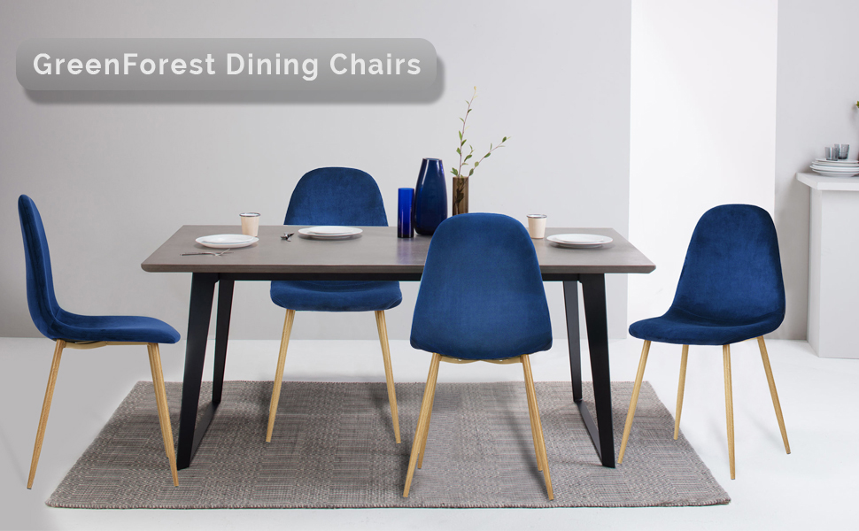 Fine Greenforest Dining Chairs For Kitchen Mid Century Modern Side Chairs Velvet Upholstered Dining Chair With Metal Legs Set Of 4 Blue Gmtry Best Dining Table And Chair Ideas Images Gmtryco