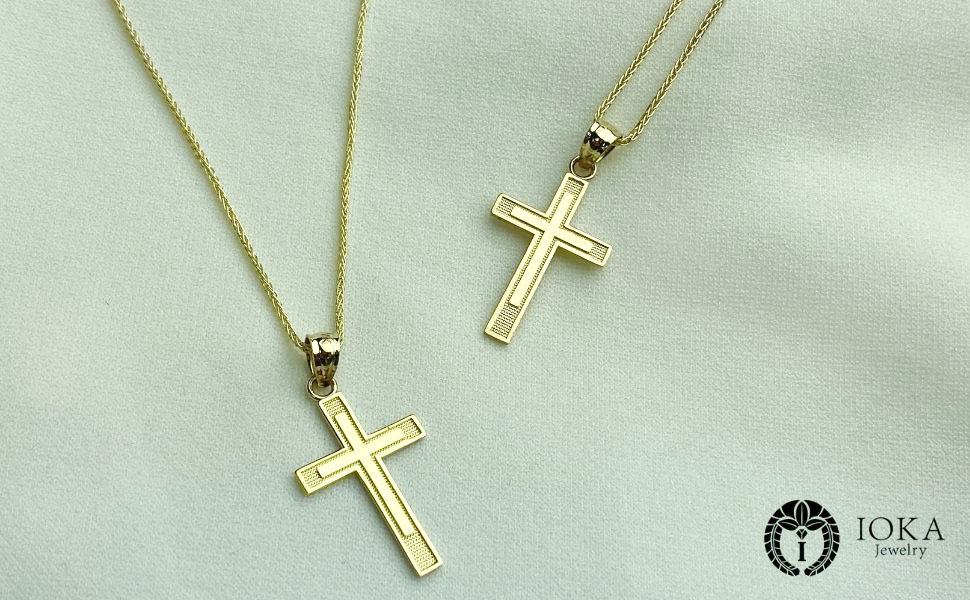 14K Yellow Gold Cross Charm Pendant Chain Necklace