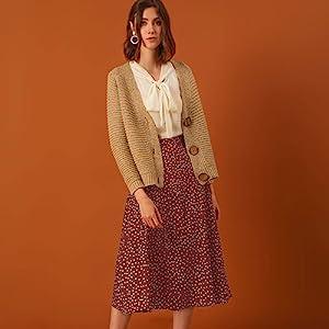 Allegra K Women's Elastic Waist Zipper Vintage Polka Dots Midi Skirt