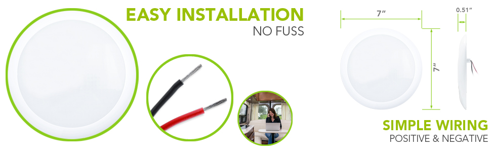 Easy Installation No Fuss RV Trailer Camper 5th Wheel Interior Ceiling Surface Mount Light