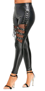 Fishnet Trim Lace Up PU Leather Pants Thin Lightweight Gothic Punk Leggings for Women