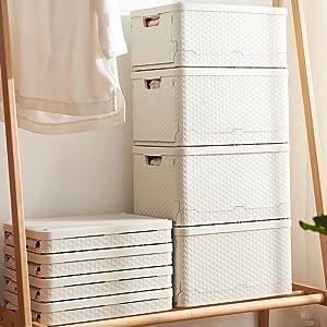 収納ボックス 折りたたみ 収納ケース 大容量 折畳 蓋付き プラスチック整理ボックス L スタッキングボックス 雑貨 ベッド下 小物 おもちゃ 書類 雑誌 衣類収納 整理 衣装ケース