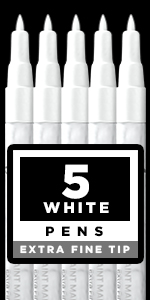 White Paint pens for Rock Painting, Stone, Ceramic, Glass, Wood. Set of 5 Acrylic Paint Markers