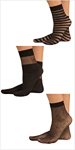 calze calzini donna velate velati pois righe trasparenze trasparenti