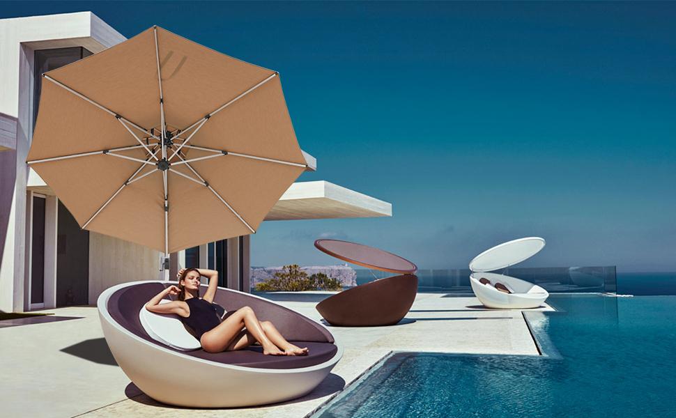 10ft large cantilever patio umbrella beige