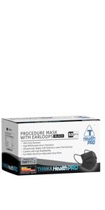 THINKA PROCEDURE MASK WITH EARLOOPS (50pcs) - [BLACK] - Medical mask