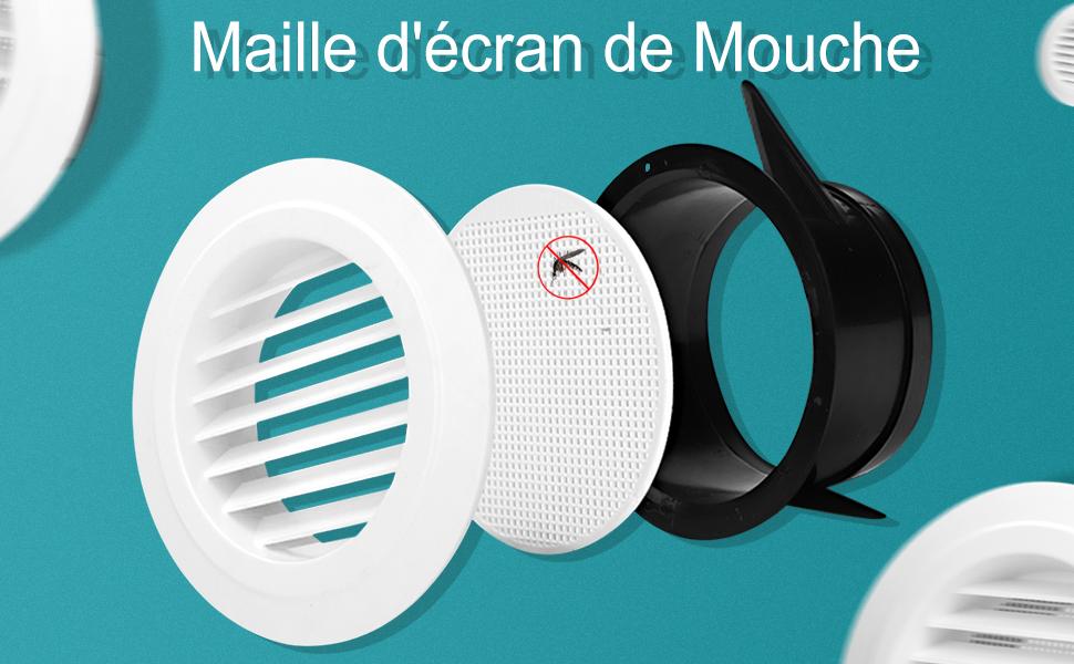 Bouche de Ventilation /ø150mm HG POWER 6 Grille de Ventilation Ronde ABS avec Anti Insectes Grille de Protection pour Conduits