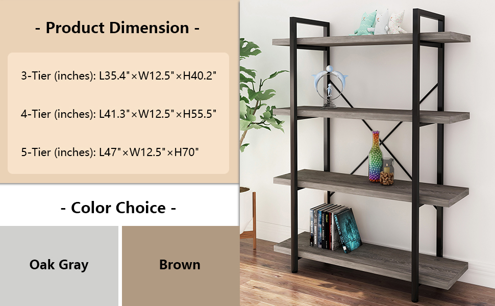 45MinST 3-Tier Metal and Wood Bookshelf Furniture for Collection,Gray Oak, 3/4/5 Tier