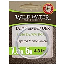 wild water fly fishing 7.5' 5X tapered monofilament leader