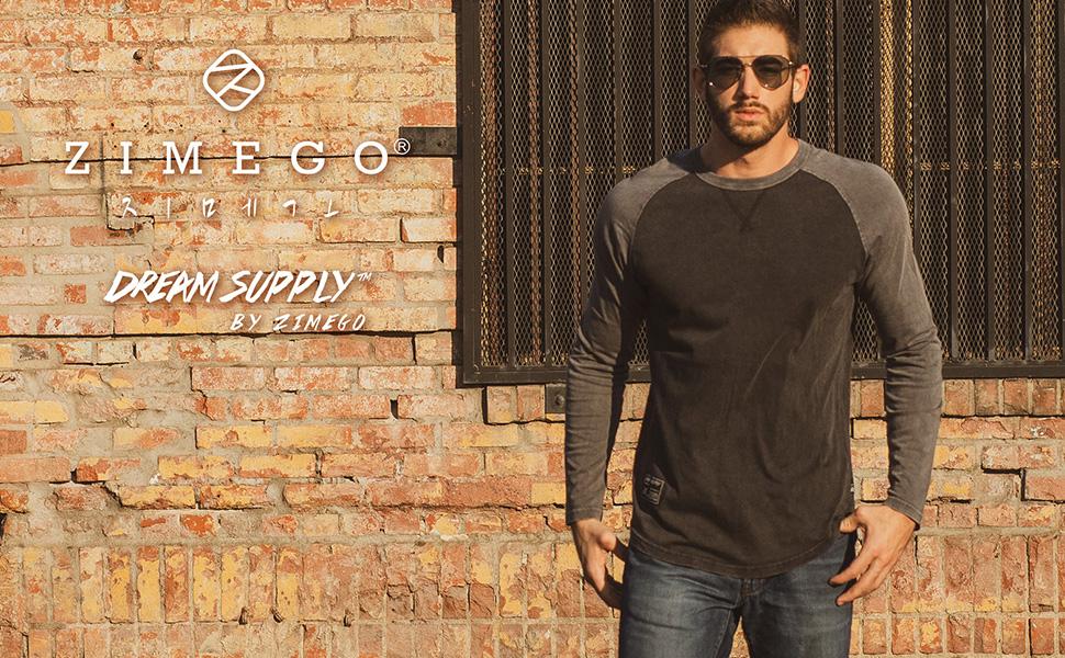 zimego vintage long sleeve t shirts color dye