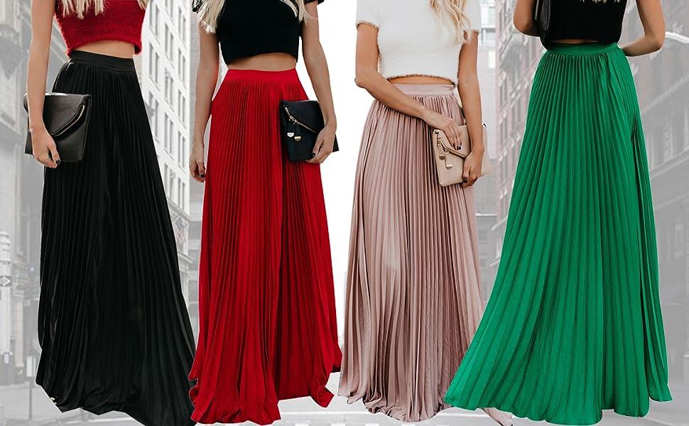 Frecoccialo Falda Plisada Mujer de Moda Larga Cintura Elástica Alta Eleganete Falda Maxi en Color Liso Falda Vintage