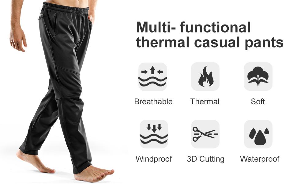 Pantalon Transpirable Cortaviento Impermeable para Running Ciclismo Trekking Senderismo Y Otros Deportes Al Aire Libre INBIKE Pantalones Deporte Largo Termico Hombre para Invierno 8635
