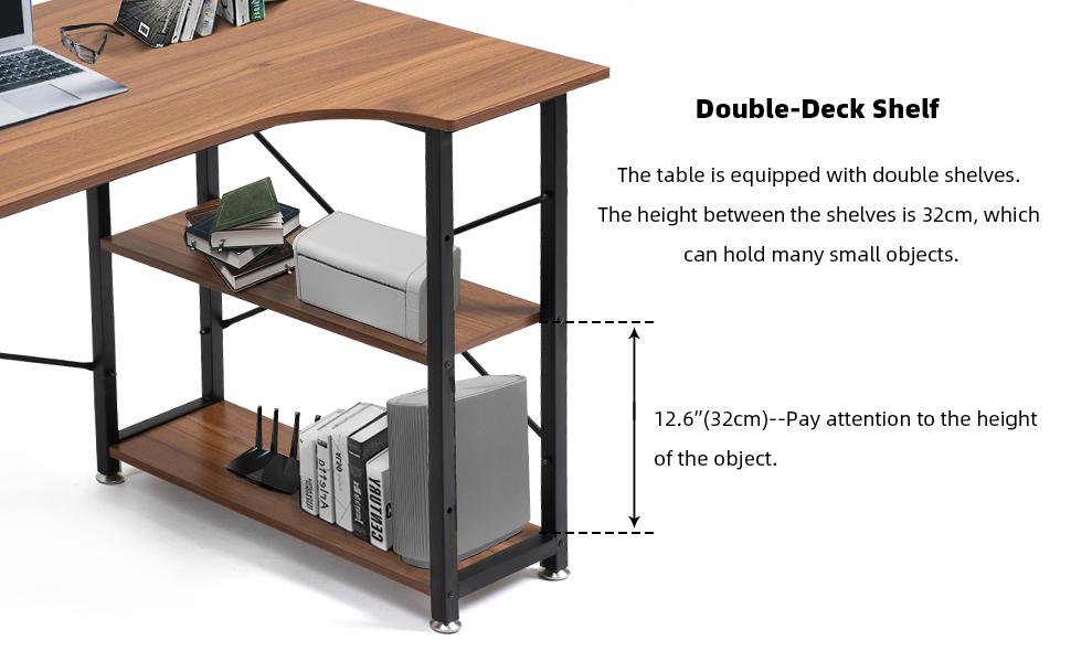 Multi-Usage Home Office Desk, Small Desk Study Writing Corner Desk with Bookshelf, Black Metal Frame